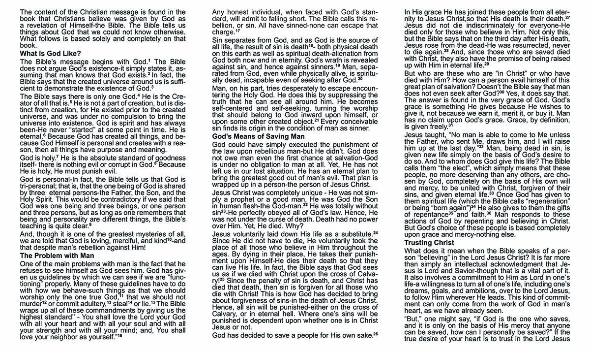 The Christian Message - Gospel Tract - 6 5