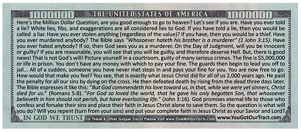 picture about Printable Gospel Tract named Million Greenback Invoice Gospel Tract: Pres. Lincoln (100 ct. pckg)
