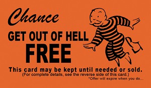 "Get Out Of Hell Free (Chance) Gospel Tract - 100ct pckg (2"" x 3-1/2"")"