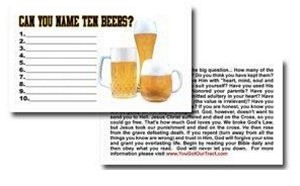 "Name 10 Beers"" Gospel Tract - 100ct pckg (2"" x 3-1/2"")"