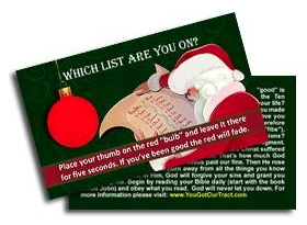 "Naughty Or Nice? GOSPEL TRACT  - 100ct pckg (2"" x 3-1/2"")"